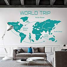 Amazon Com Digtour Wallart World Travel Map Wall Decal Removable Map Decal Vinyl Map Wall Decor World Map Wall Sticker Living Room Art Decor Teal Home Kitchen