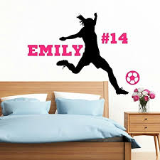 Personalized Softball Wall Decal Pitcher Girls Softball Decor Over 30 Colors Several Sizes Handmade E9sbqnkna