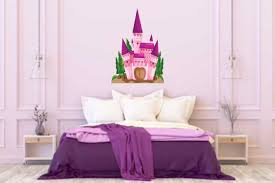 Princess Castle Wall Decal Girls Bedroom Decal Wall Decal Vinyl Wall Decal Wall Stickers Personalized Graphics Pink Castle Decal
