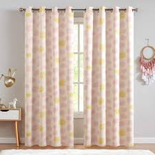 Amazon Com Kids Room Curtains Cloud Printed Nursery Room Darkening Curtains For Living Room Window Curtain Panels For Bedroom Drapes Ring Top Window Treatments 2 Panels 84 L Pink On Beige Furniture