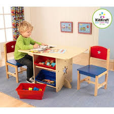 Amazon Com Star Table And Chairs Wood Furniture Set Kids Room Activity Table With Storage Bins Baby