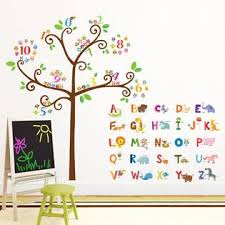 Decowall Da 1503 Animal Alphabet Abc And Owl Numbers Tree Kids Wall Decals Wall Stickers Peel And Stick Removable Wall Stickers For Kids