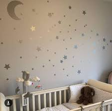 Moon And Star Decals Silver Stars Stickers Nursery Wall Decals Moon Decals Stars Decals Deca Nursery Wall Stickers Stars Nursery Decor Nursery Wall Decals