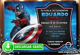 Capitan America Invitacion Cumpleanos Mega Idea