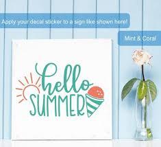 Hello Summer Cone Sunshine Art Vinyl Wall Decal Sticker Seasonal Decor