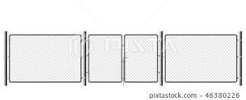 Realistic Metal Chain Link Fence Art Design Stock Illustration 46380226 Pixta