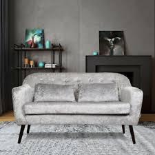 crushed velvet sofa 2 seater arm chair