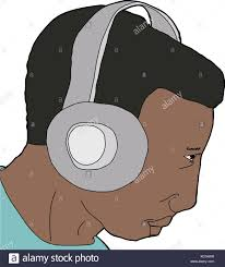 isolated cartoon of person listening to