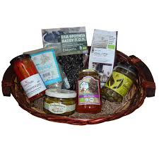 gift basket with 7 organic greek