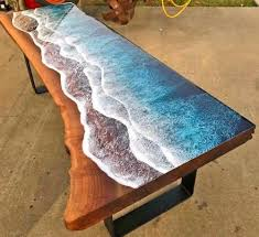 tables made to look like ocean waves