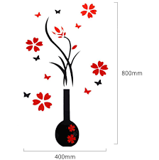 3d Stereo Wall Sticker Vase Red Plum Art Mural Decoration Sale Price Reviews Gearbest