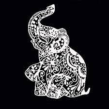 Amazon Com Fenfangxilas Elephant Car Sticker Artistic Floral Elephant Car Styling Vehicle Window Reflective Decals Sticker Decoration White Garden Outdoor