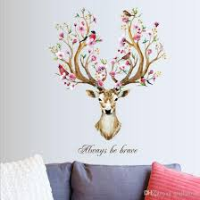 Sika Deer Head Flowers Wall Stickers For Living Room Art Vinyl Wall Decals For Kids Baby Home Decor Adesivo De Parede Decal Wall Sticker Decal Wall Stickers From Qiqihaercc 28 95 Dhgate Com