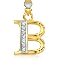 initial letter b cz fashion jewelry