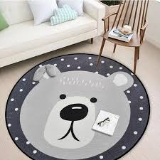 White Grey Cartoon Animals Round Tapete Soft Play Mat Kids Room Decor Delite Shopping