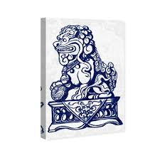 Shop Oliver Gal Julianne Taylor Style Foo Dog Navy World And Countries Wall Art Canvas Print Blue White Overstock 28633787