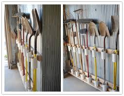 tools in garage or garden storage unit
