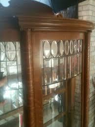 oak curio cabinet curved glass mirrored