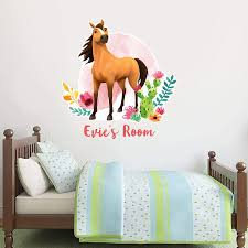 Amazon Com Spirit Riding Free Wall Sticker Spirit Personalised Wall Decal Vinyl Mural Kids Bedroom Art Horse 60cm Height X 55cm Width Baby