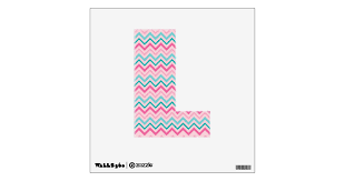 Teal Pink Zig Zag Letter Wall Decal Zazzle Com
