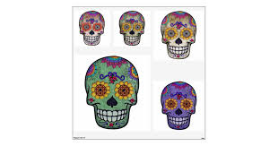 Sugar Skulls Day Of The Dead Variety Wall Decal Zazzle Com
