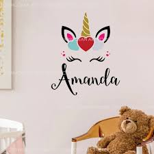 Personalized Name Smile Cute Unicorn Wall Stickers Viny Cartoon Home Decor For Girls Room Baby Nursery Kids Decals Custom A347 Wall Stickers Aliexpress
