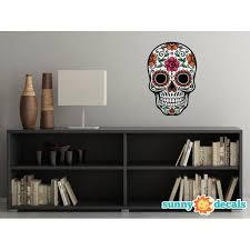Sugar Skull Fabric Wall Decal Day Of The Dead Wall Decor 4 Color Options Flower Walmart Com Walmart Com