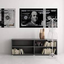 Benjamin Franklin Black Marble Art Modern Canvas Artwork Motiv Art