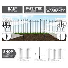 Vigoro Beaumont No Dig 40 4 In H X 53 7 In W Black Steel Decorative Fence Gate 860169 The Home Depot