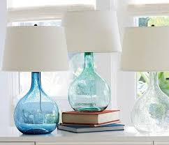 sea green and blue glass table lamps
