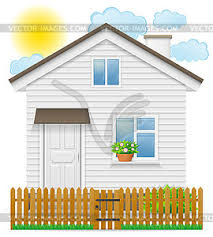Small Country House With Wooden Fence Vector Clipart