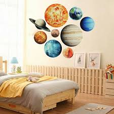 9pcs Set Planet Stickers Solar System Planets Wall Stickers Wall Decal Home Living Room Kids Room Baby Nursery Decorations Sale Banggood Com