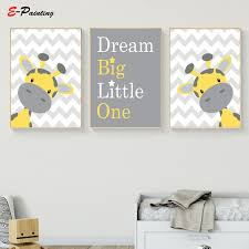 Baby Boy Nursery Wall Art Picture Giraffe Print Yellow And Gray Canvas Painting Kid Bedroom Cute Decoration Posters Painting Calligraphy Aliexpress