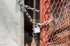 Door Lock On Metal Gate With Chain Stock Photo Download Image Now Istock