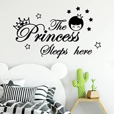 Amazon Com Wall Stickers Pumsun The Princess Sleeps Here Wall Decor Sticker Home Wall Decals Kids Room Wall Sticker Black Arts Crafts Sewing