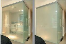smart glass for shower wall clear when
