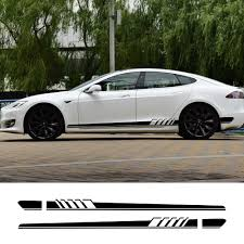 2pcs Car Long Side Door Stickers For Tesla Model 3 S X P100d Auto Vinyl Film Decals Styling Automobile Car Tuning Accessories Aliexpress