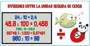 Resultado de imagen de dividir un numero natural por la unidad seguida de ceros