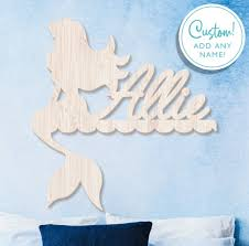 Mermaid Wall Sign Mermaid Theme Wall Decor Kids Name Sign Wood Name Sign Kids Room Decor Personalized Name Sign Mermaid Room Art By Labelsrus Catch My Party