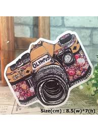 Colorful Camera Travel Hipster Graphic Art Waterproof Vinyl Decal Sticker Skullangel Unique Handmade Clothing Embroidered Patches Waterproof Stickers For Diy Projects