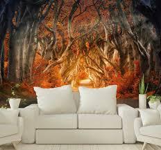 Autumn Sunrise Forest Wall Mural Tenstickers