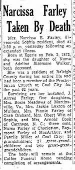Narcissa Farley obit (child of nuna and Adeline walker - Newspapers.com