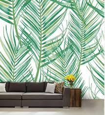 Jungle Leaves Green Leaves Painting Wall Decal Green Green Leaf Wallpaper Painted Leaves Green Wallpaper