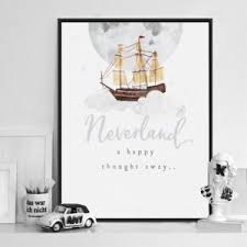 Peter Pan Nursery Art Neverland Moon Poster Prints Baby Boy Canvas Painting Minimalist Beige Picture Kids Room Wall Art Decor Wallcorners Art Canvas