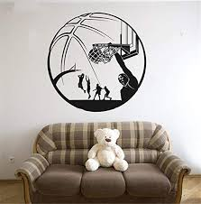 Amazon Com Hisoa Wall Sticker Quote Wall Decal Funny Wallpaper Removable Vinyl Basketball Decals Home Decor For Kids Boys Room Unique Gift Home Kitchen