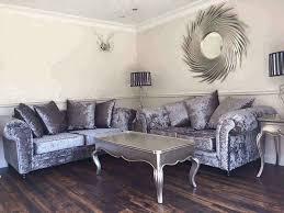 silver grey crushed velvet sofas