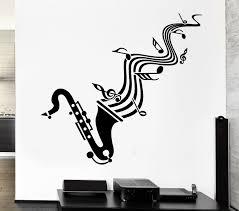Wall Sticker Vinyl Decal Saxophone Sheet Music Jazz Blues Lover Ig1295 For Sale Online