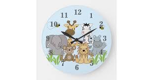 Safari Jungle Animals Baby Nursery Kids Room Large Clock Zazzle Com