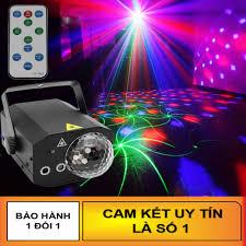 Đèn Laser Ánh Sáng Laze Cảm Biến Âm Thanh - Kết Hợp Đèn LED Xoay 7 Màu Dùng  Trang Trí Vũ Trường, Phòng Karaoke - QUANG LÊ SHOP