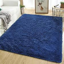 Amazon Com Softlife Fluffy Bedroom Area Rugs 5 3 X 7 6 Feet Shaggy Nursery Rug For Girls Baby Kids Dorm Room Modern Home Decorative Plush Indoor Floor Carpet Light Navy Home Kitchen